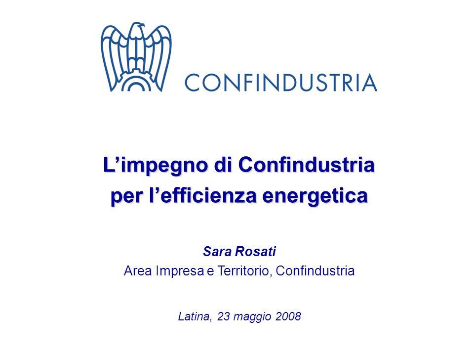 1 Limpegno di Confindustria per lefficienza energetica Sara Rosati Area Impresa e Territorio, Confindustria Latina, 23 maggio 2008