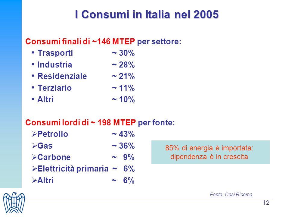 12 Consumi finali di ~146 MTEP per settore: Trasporti ~ 30% Industria~ 28% Residenziale ~ 21% Terziario~ 11% Altri ~ 10% Consumi lordi di ~ 198 MTEP per fonte: Petrolio ~ 43% Gas ~ 36% Carbone~ 9% Elettricità primaria ~ 6% Altri ~ 6% 85% di energia è importata: dipendenza è in crescita Fonte: Cesi Ricerca I Consumi in Italia nel 2005