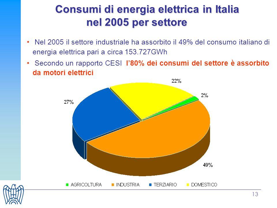 13 Consumi di energia elettrica in Italia nel 2005 per settore Consumi di energia elettrica in Italia nel 2005 per settore Nel 2005 il settore industriale ha assorbito il 49% del consumo italiano di energia elettrica pari a circa 153.727GWh Secondo un rapporto CESI l80% dei consumi del settore è assorbito da motori elettrici
