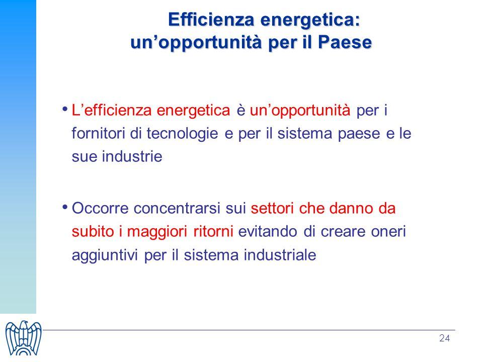 24 Lefficienza energetica è unopportunità per i fornitori di tecnologie e per il sistema paese e le sue industrie Occorre concentrarsi sui settori che