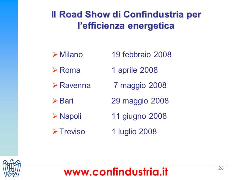 26 Il Road Show di Confindustria per lefficienza energetica Milano19 febbraio 2008 Roma1 aprile 2008 Ravenna 7 maggio 2008 Bari29 maggio 2008 Napoli11 giugno 2008 Treviso1 luglio 2008 www.confindustria.it