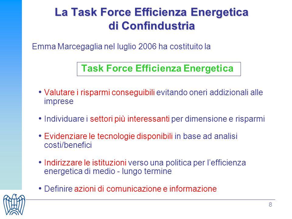 8 Emma Marcegaglia nel luglio 2006 ha costituito la Task Force Efficienza Energetica Valutare i risparmi conseguibili evitando oneri addizionali alle
