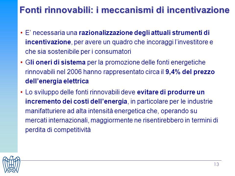 13 Fonti rinnovabili: i meccanismi di incentivazione E necessaria una razionalizzazione degli attuali strumenti di incentivazione, per avere un quadro