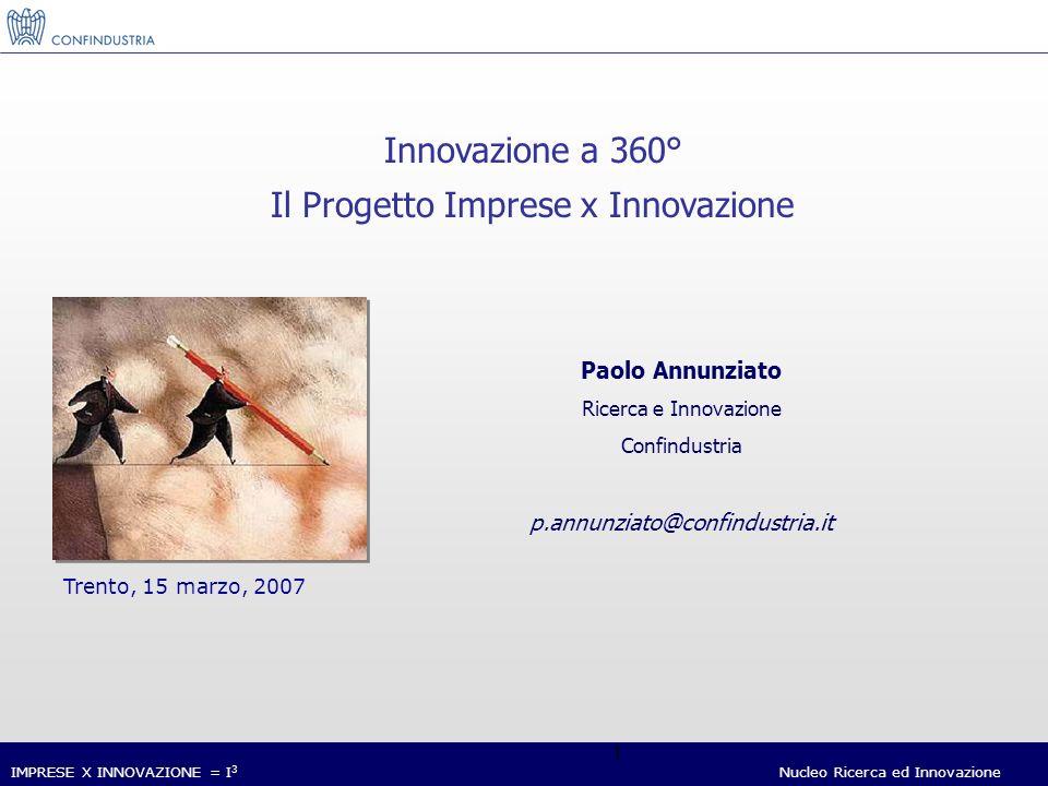 IMPRESE X INNOVAZIONE = I 3 Nucleo Ricerca ed Innovazione 1 Paolo Annunziato Ricerca e Innovazione Confindustria p.annunziato@confindustria.it Trento, 15 marzo, 2007 Innovazione a 360° Il Progetto Imprese x Innovazione