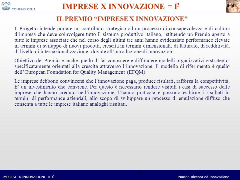 IMPRESE X INNOVAZIONE = I 3 Nucleo Ricerca ed Innovazione 12 IMPRESE X INNOVAZIONE = I 3 IL PREMIO IMPRESE X INNOVAZIONE Il Progetto intende portare un contributo strategico ad un processo di consapevolezza e di cultura dimpresa che deve coinvolgere tutto il sistema produttivo italiano, istituendo un Premio aperto a tutte le imprese associate che nel corso degli ultimi tre anni hanno evidenziato performance elevate in termini di sviluppo di nuovi prodotti, crescita in termini dimensionali, di fatturato, di redditività, di livello di internazionalizzazione, dovute allintroduzione di innovazioni.