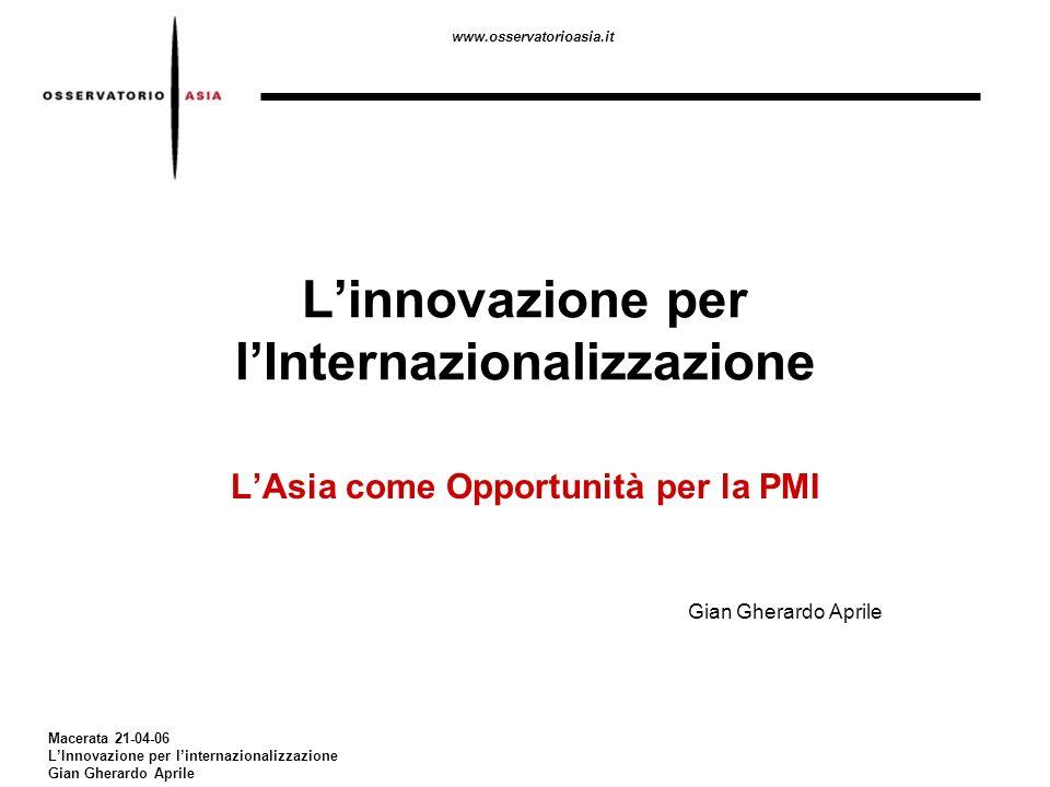 www.osservatorioasia.it Macerata 21-04-06 LInnovazione per linternazionalizzazione Gian Gherardo Aprile Linnovazione per lInternazionalizzazione LAsia come Opportunità per la PMI Gian Gherardo Aprile