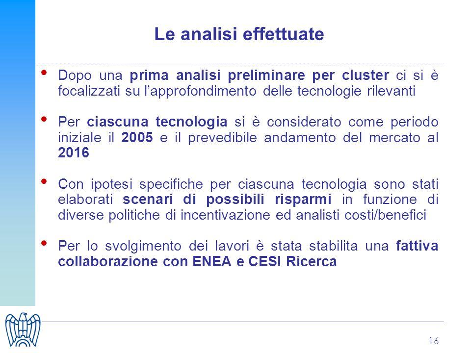 16 Le analisi effettuate Dopo una prima analisi preliminare per cluster ci si è focalizzati su lapprofondimento delle tecnologie rilevanti Per ciascun