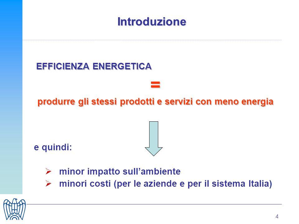 4 Introduzione EFFICIENZA ENERGETICA = produrre gli stessi prodotti e servizi con meno energia e quindi: minor impatto sullambiente minori costi (per le aziende e per il sistema Italia)
