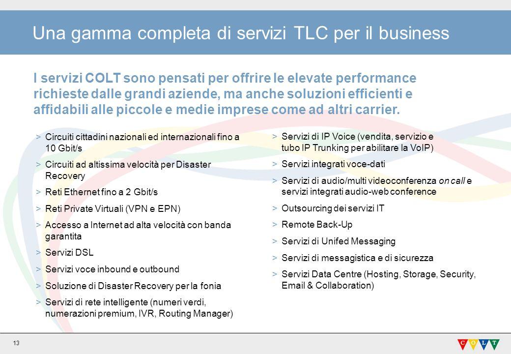 13 Una gamma completa di servizi TLC per il business I servizi COLT sono pensati per offrire le elevate performance richieste dalle grandi aziende, ma anche soluzioni efficienti e affidabili alle piccole e medie imprese come ad altri carrier.
