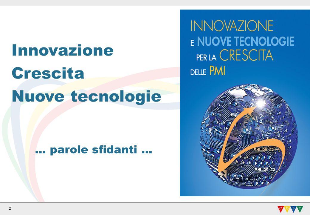 2 Innovazione Crescita Nuove tecnologie … parole sfidanti …