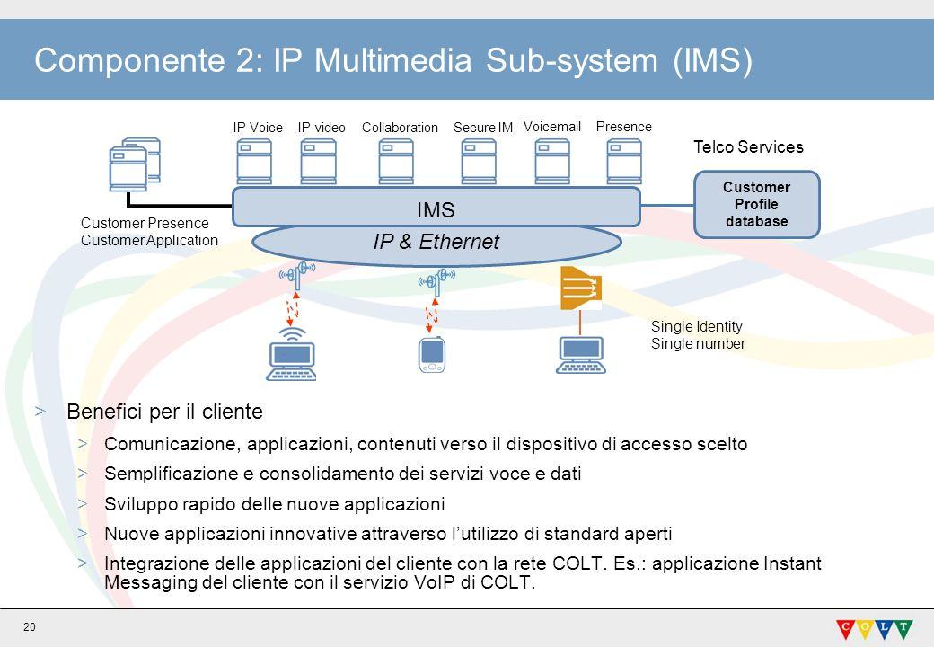 20 Componente 2: IP Multimedia Sub-system (IMS) >Benefici per il cliente >Comunicazione, applicazioni, contenuti verso il dispositivo di accesso scelto >Semplificazione e consolidamento dei servizi voce e dati >Sviluppo rapido delle nuove applicazioni >Nuove applicazioni innovative attraverso lutilizzo di standard aperti >Integrazione delle applicazioni del cliente con la rete COLT.