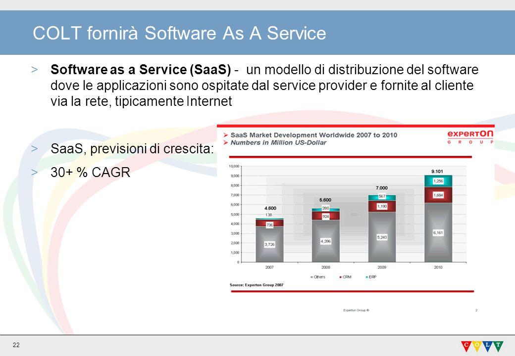 22 COLT fornirà Software As A Service >Software as a Service (SaaS) - un modello di distribuzione del software dove le applicazioni sono ospitate dal