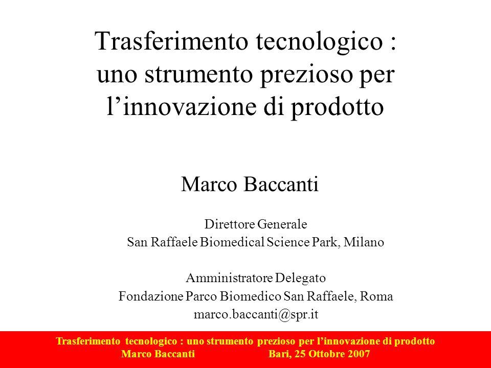 Trasferimento tecnologico : uno strumento prezioso per linnovazione di prodotto Marco Baccanti Bari, 25 Ottobre 2007 Trasferimento tecnologico come strumento di competitività Trasferimento Tecnologico Know how R&D Proprietà intellettuale Brand Conoscenze tacite e codificate Asset intangibili Economia della conoscenza competitività