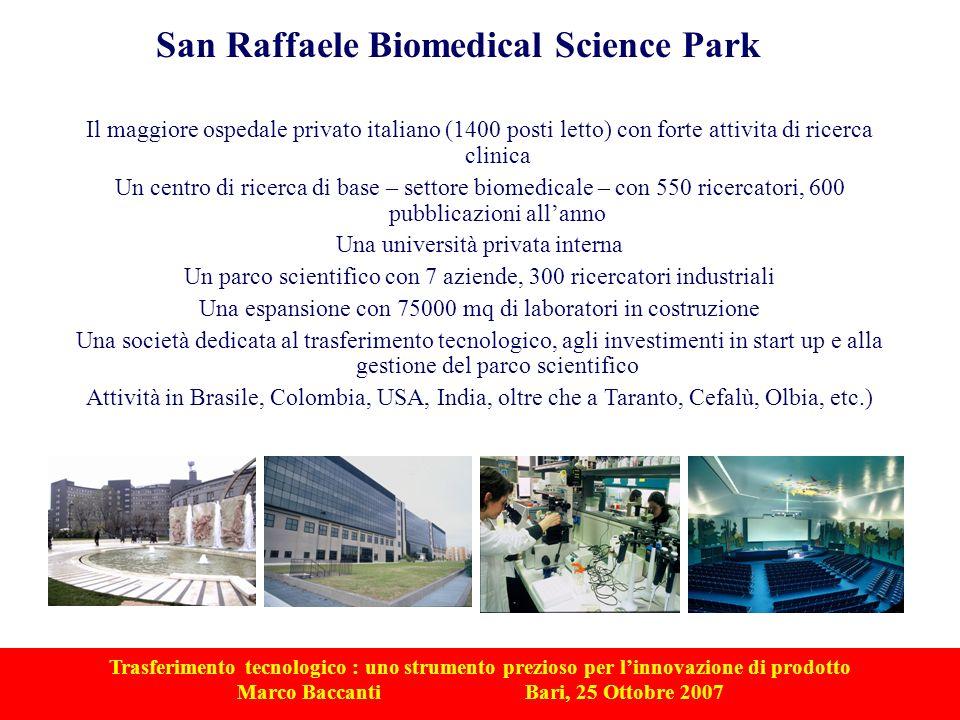 Trasferimento tecnologico : uno strumento prezioso per linnovazione di prodotto Marco Baccanti Bari, 25 Ottobre 2007 Il maggiore ospedale privato ital