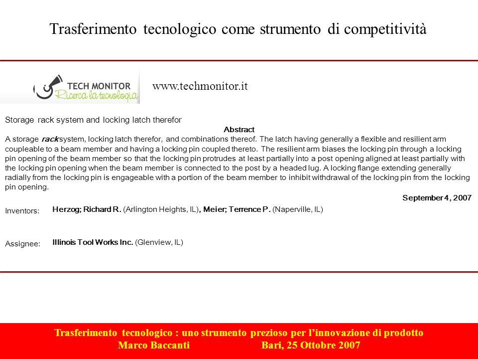 Trasferimento tecnologico : uno strumento prezioso per linnovazione di prodotto Marco Baccanti Bari, 25 Ottobre 2007 Trasferimento tecnologico come st
