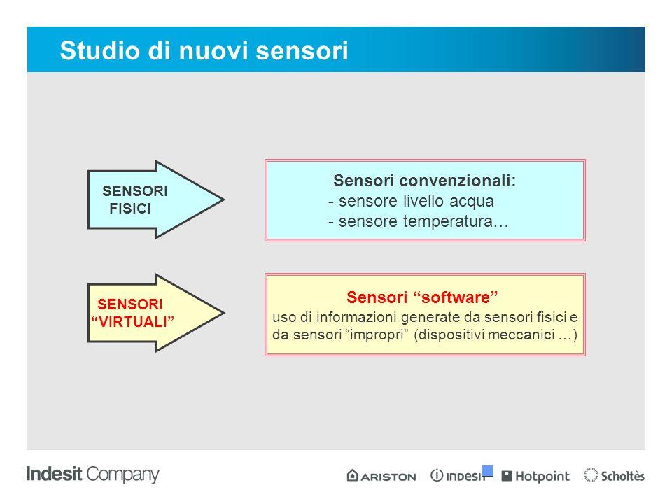 SENSORI FISICI SENSORI VIRTUALI Sensori convenzionali: - sensore livello acqua - sensore temperatura… Sensori software uso di informazioni generate da sensori fisici e da sensori impropri (dispositivi meccanici …) Studio di nuovi sensori