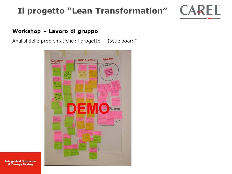 Integrated Solutions & Energy Saving Workshop – Lavoro di gruppo Analisi delle problematiche di progetto – Issue board Il progetto Lean Transformation