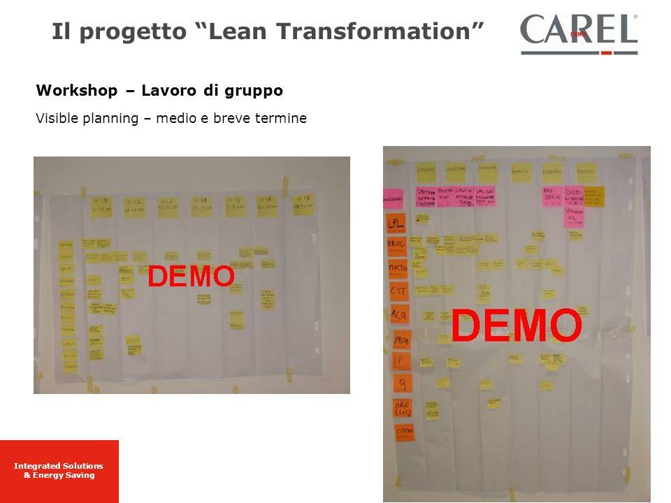 Integrated Solutions & Energy Saving Workshop – Lavoro di gruppo Visible planning – medio e breve termine Il progetto Lean Transformation