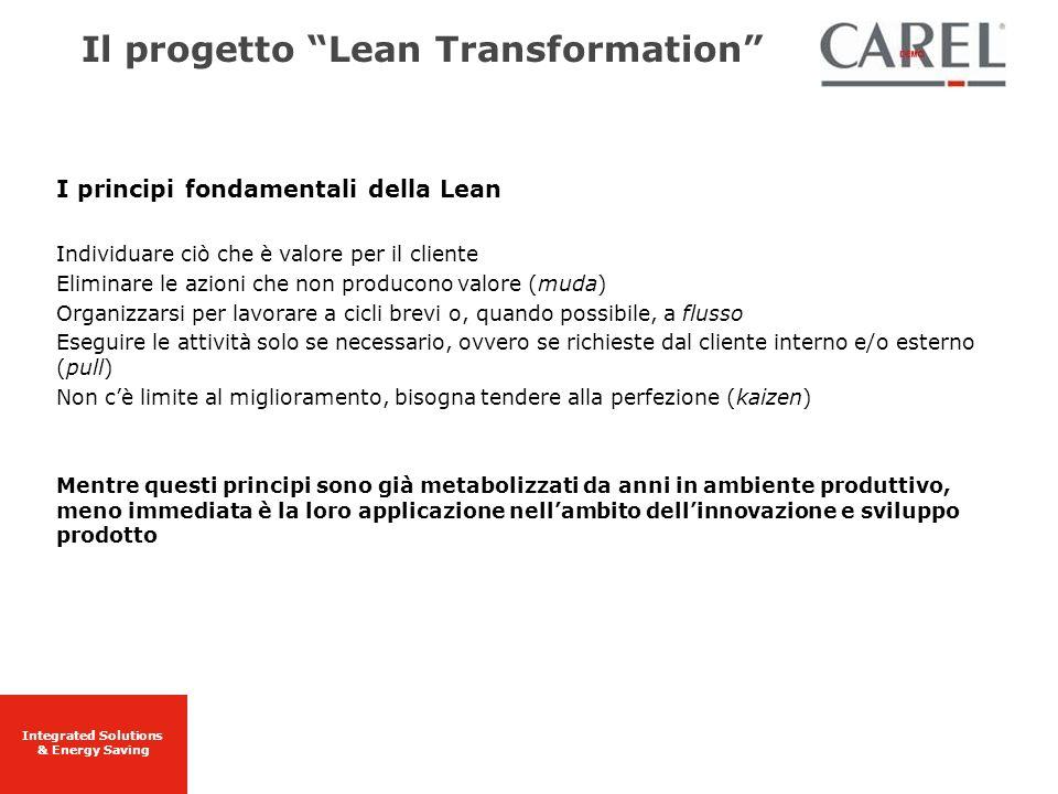 Integrated Solutions & Energy Saving I principi fondamentali della Lean Individuare ciò che è valore per il cliente Eliminare le azioni che non produc