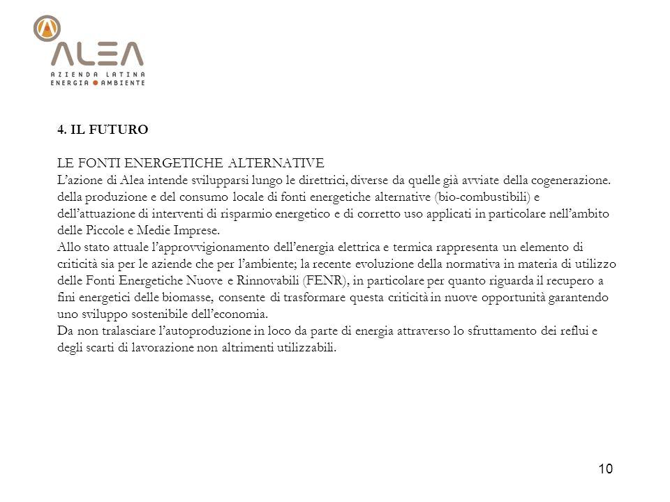 10 4. IL FUTURO LE FONTI ENERGETICHE ALTERNATIVE Lazione di Alea intende svilupparsi lungo le direttrici, diverse da quelle già avviate della cogenera