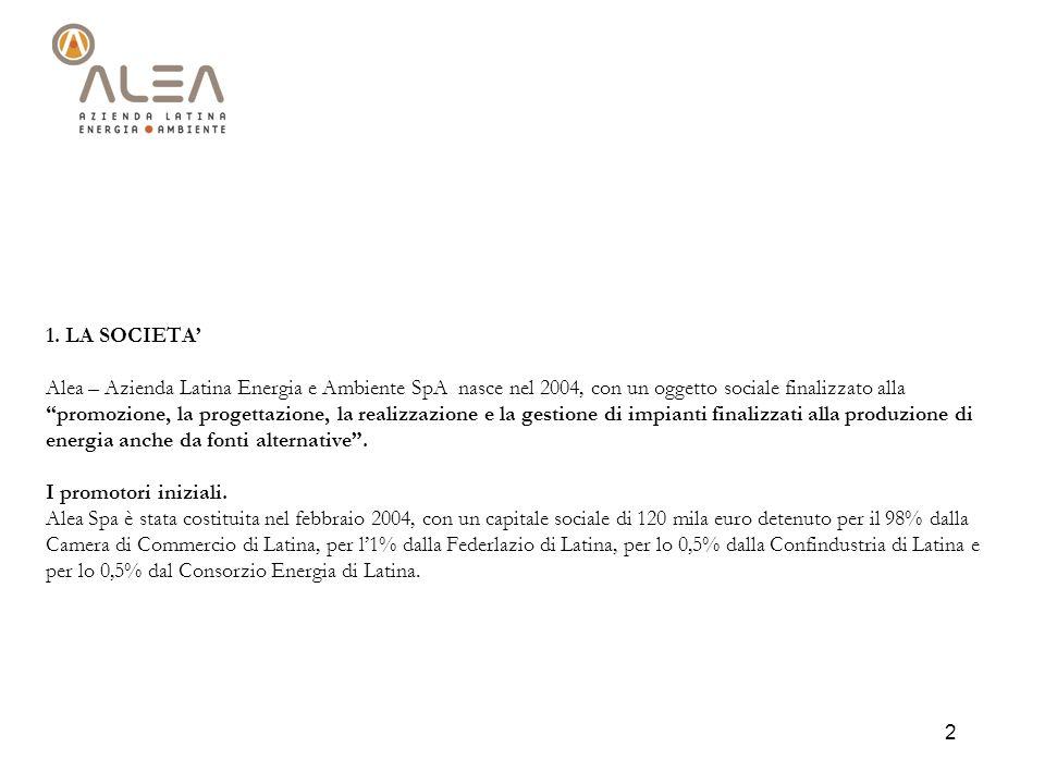 2 1. LA SOCIETA Alea – Azienda Latina Energia e Ambiente SpA nasce nel 2004, con un oggetto sociale finalizzato alla promozione, la progettazione, la