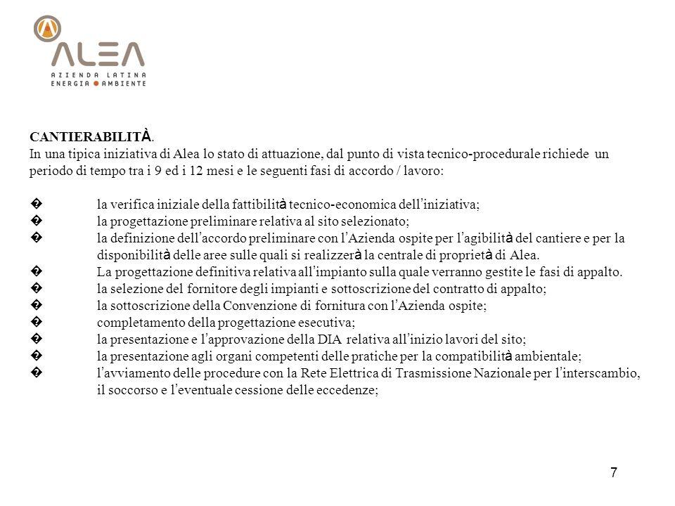 7 CANTIERABILIT À. In una tipica iniziativa di Alea lo stato di attuazione, dal punto di vista tecnico-procedurale richiede un periodo di tempo tra i