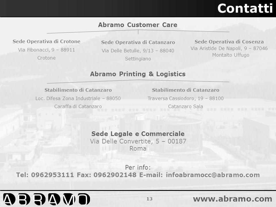 13 www.abramo.com Contatti Sede Legale e Commerciale Via Delle Convertite, 5 – 00187 Roma Sede Operativa di Crotone Via Fibonacci, 9 – 88911 Crotone S