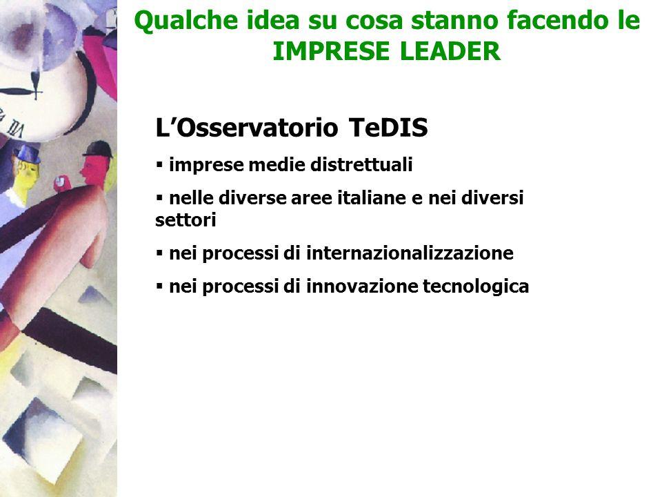 Qualche idea su cosa stanno facendo le IMPRESE LEADER LOsservatorio TeDIS imprese medie distrettuali nelle diverse aree italiane e nei diversi settori