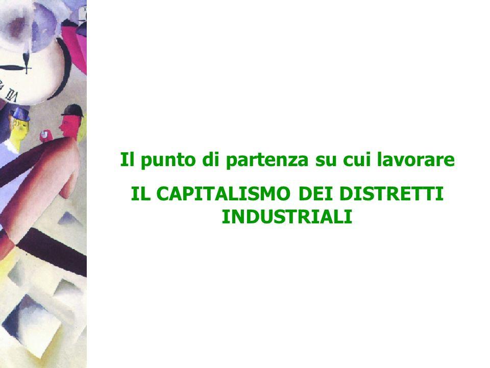 I DISTRETTI INDUSTRIALI: UN PO DI STORIA LItalia è un capitalismo basato su piccole imprese e distretti industriali con modelli di business che hanno preso forma, spesso, 40 anni fa (negli anni settanta, dalla crisi del fordismo in poi) Allora lItalia era un paese dotato di abbondanti riserve di lavoro (ex agricolo) e di territorio inserito in un circuito europeo di paesi dotati di redditi più elevati e di strutture industriali più avanzate La specializzazione nel made in Italy (moda, alimentare, casa, meccanica) ha preso forma importando conoscenze dallesterno (macchine, licenze, imitazione) e propagandole nei distretti a costi bassi o nulli (copiando, o usando le conoscenze accessibili in loco attraverso lavoratori e fornitori specializzati) La parte originale di conoscenza ce lha messa limprenditore come persona, MA SENZA INVESTIRE SOLDI IN CAPITALE INTELLETTUALE E RELAZIONALE QUESTO HA ABBASSATO LE BARRIERE ALLINGRESSO E FATTO AUMENTARE IL NUMERO DELLE AZIENDE
