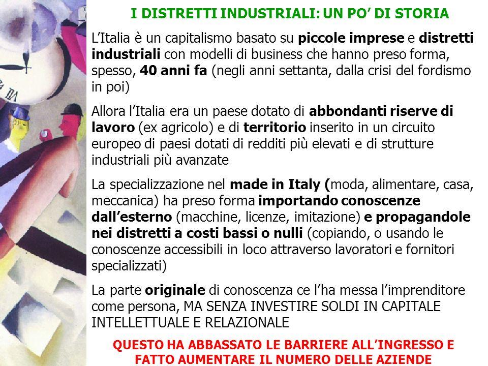 I DISTRETTI INDUSTRIALI: UN PO DI STORIA LItalia è un capitalismo basato su piccole imprese e distretti industriali con modelli di business che hanno