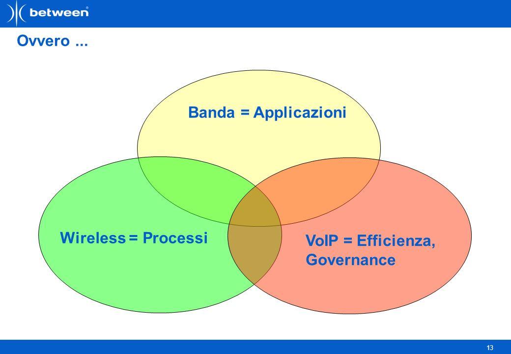 13 Ovvero... Banda = Applicazioni VoIP = Efficienza, Governance Wireless = Processi
