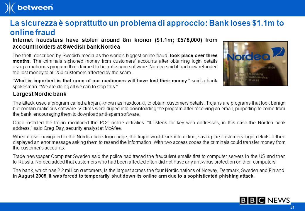 31 La sicurezza è soprattutto un problema di approccio: Bank loses $1.1m to online fraud Internet fraudsters have stolen around 8m kronor ($1.1m; £576