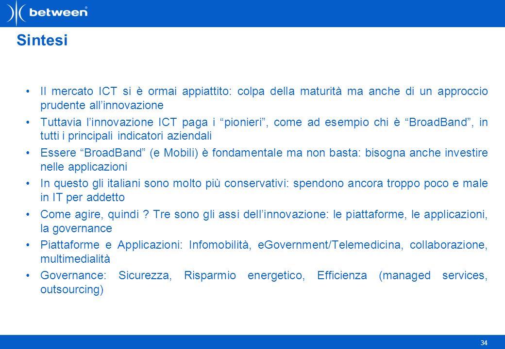 34 Sintesi Il mercato ICT si è ormai appiattito: colpa della maturità ma anche di un approccio prudente allinnovazione Tuttavia linnovazione ICT paga i pionieri, come ad esempio chi è BroadBand, in tutti i principali indicatori aziendali Essere BroadBand (e Mobili) è fondamentale ma non basta: bisogna anche investire nelle applicazioni In questo gli italiani sono molto più conservativi: spendono ancora troppo poco e male in IT per addetto Come agire, quindi .