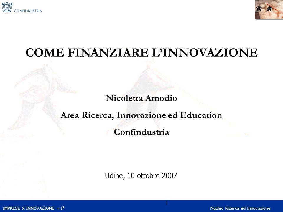 IMPRESE X INNOVAZIONE = I 3 Nucleo Ricerca ed Innovazione 1 COME FINANZIARE LINNOVAZIONE Nicoletta Amodio Area Ricerca, Innovazione ed Education Confindustria Udine, 10 ottobre 2007