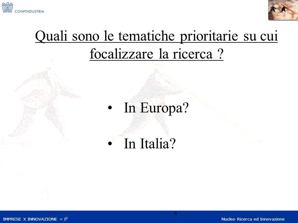 IMPRESE X INNOVAZIONE = I 3 Nucleo Ricerca ed Innovazione 8 Quali sono le tematiche prioritarie su cui focalizzare la ricerca ? In Europa? In Italia?