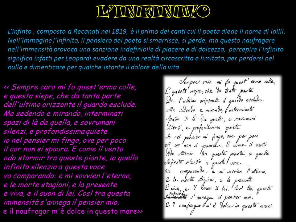 Linfinto, composto a Recanati nel 1819, è il primo dei canti cui il poeta diede il nome di idilli. Nellimmagine linfinito, il pensiero del poeta si sm