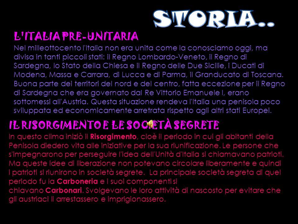 L'ITALIA PRE-UNITARIA Nel milleottocento l'Italia non era unita come la conosciamo oggi, ma divisa in tanti piccoli stati: il Regno Lombardo-Veneto, i