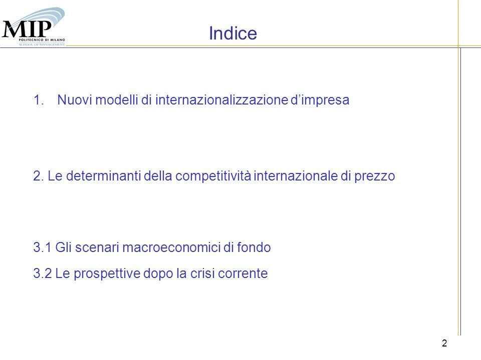 2 Indice 1.Nuovi modelli di internazionalizzazione dimpresa 2. Le determinanti della competitività internazionale di prezzo 3.1 Gli scenari macroecono