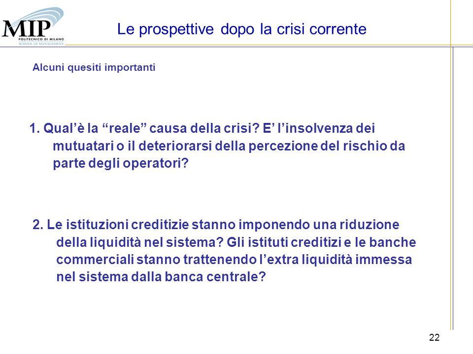 22 Le prospettive dopo la crisi corrente Alcuni quesiti importanti 1. Qualè la reale causa della crisi? E linsolvenza dei mutuatari o il deteriorarsi