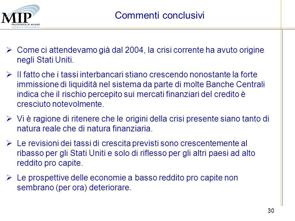 30 Commenti conclusivi Come ci attendevamo già dal 2004, la crisi corrente ha avuto origine negli Stati Uniti. Il fatto che i tassi interbancari stian