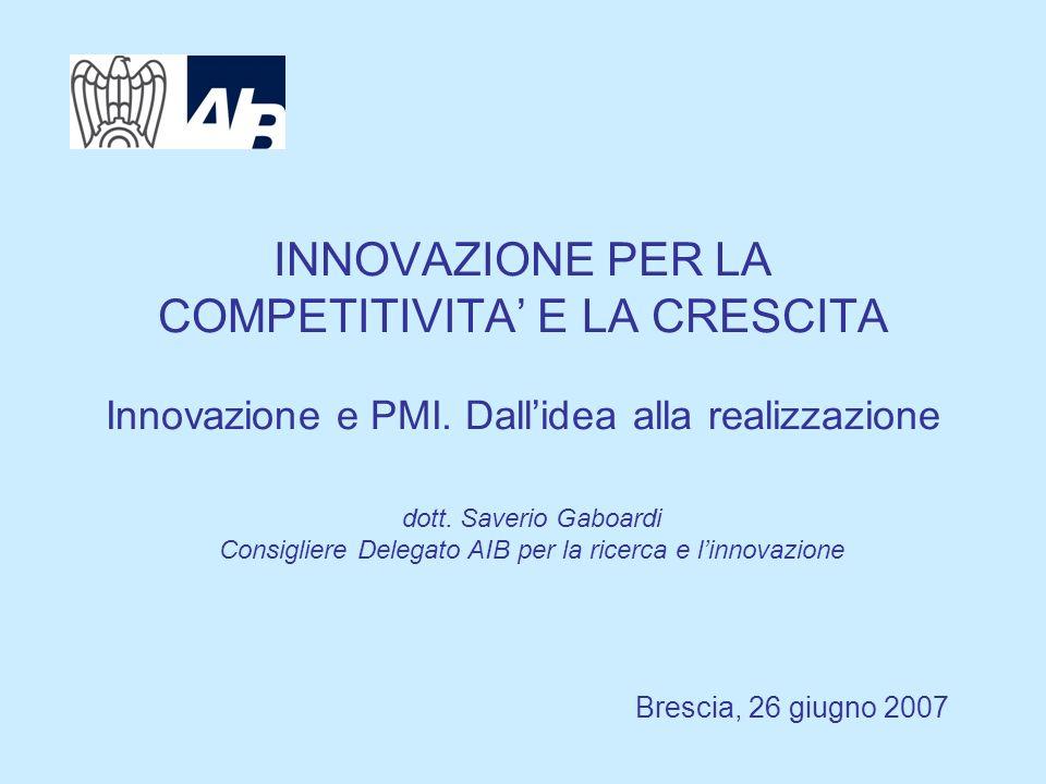 INNOVAZIONE PER LA COMPETITIVITA E LA CRESCITA Innovazione e PMI. Dallidea alla realizzazione Brescia, 26 giugno 2007 dott. Saverio Gaboardi Consiglie