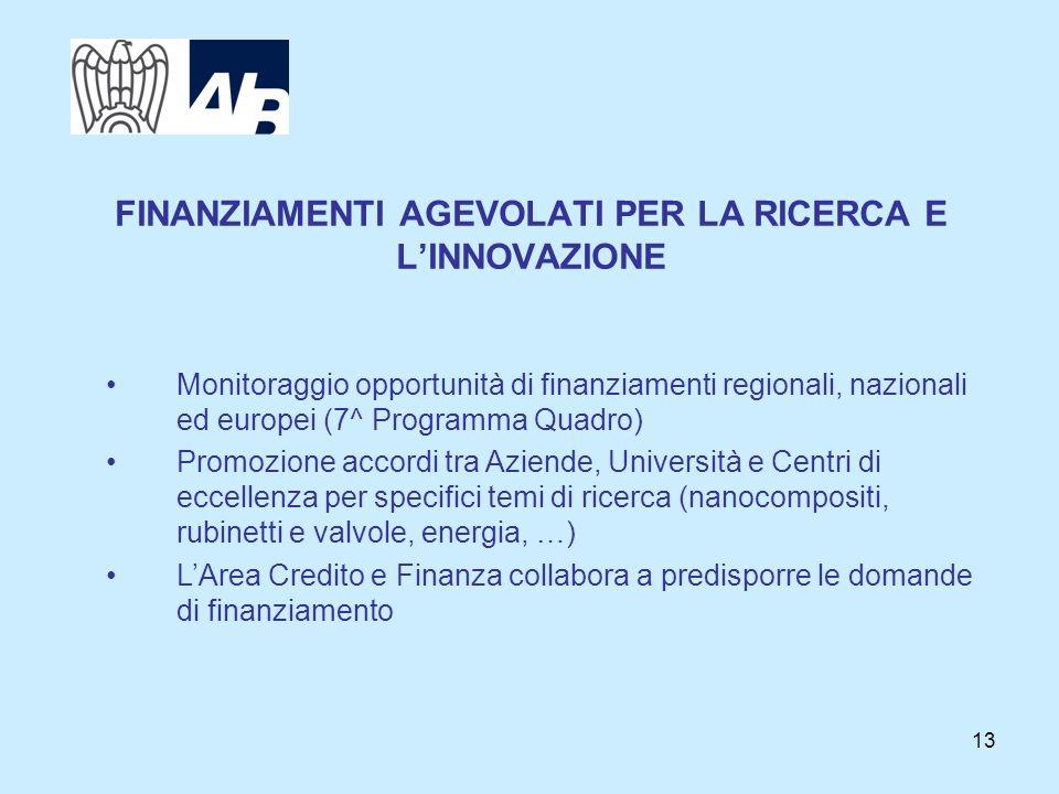 13 FINANZIAMENTI AGEVOLATI PER LA RICERCA E LINNOVAZIONE Monitoraggio opportunità di finanziamenti regionali, nazionali ed europei (7^ Programma Quadr