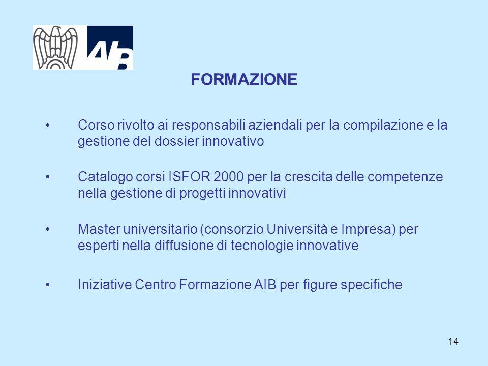 14 FORMAZIONE Corso rivolto ai responsabili aziendali per la compilazione e la gestione del dossier innovativo Catalogo corsi ISFOR 2000 per la cresci