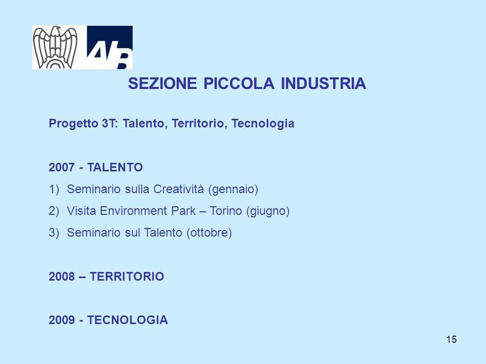 15 SEZIONE PICCOLA INDUSTRIA Progetto 3T: Talento, Territorio, Tecnologia 2007 - TALENTO 1)Seminario sulla Creatività (gennaio) 2)Visita Environment P