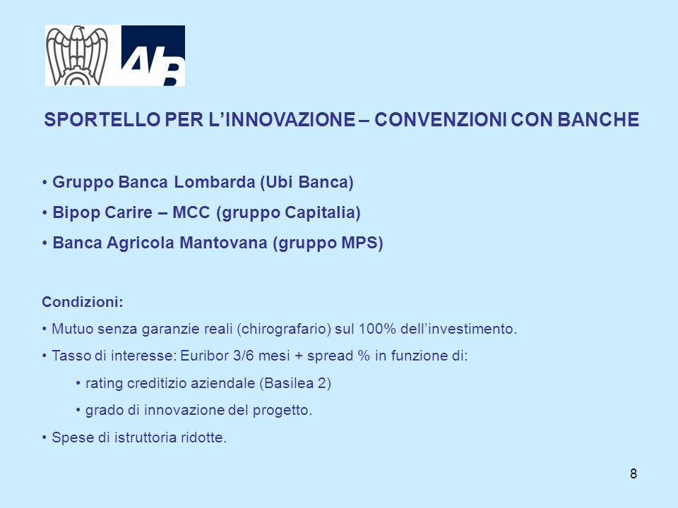 8 SPORTELLO PER LINNOVAZIONE – CONVENZIONI CON BANCHE Gruppo Banca Lombarda (Ubi Banca) Bipop Carire – MCC (gruppo Capitalia) Banca Agricola Mantovana