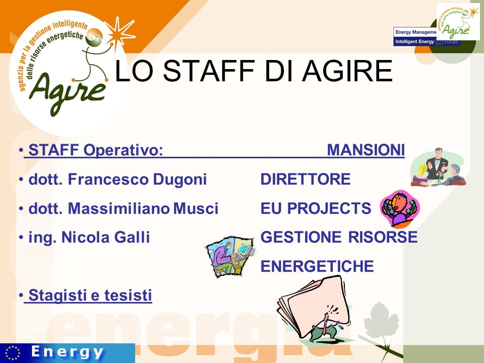 LO STAFF DI AGIRE STAFF Operativo: MANSIONI dott. Francesco Dugoni DIRETTORE dott.