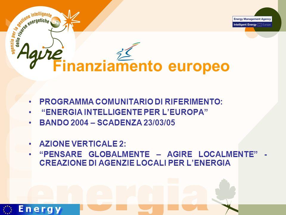 Finanziamento europeo PROGRAMMA COMUNITARIO DI RIFERIMENTO: ENERGIA INTELLIGENTE PER LEUROPA BANDO 2004 – SCADENZA 23/03/05 AZIONE VERTICALE 2: PENSARE GLOBALMENTE – AGIRE LOCALMENTE - CREAZIONE DI AGENZIE LOCALI PER LENERGIA