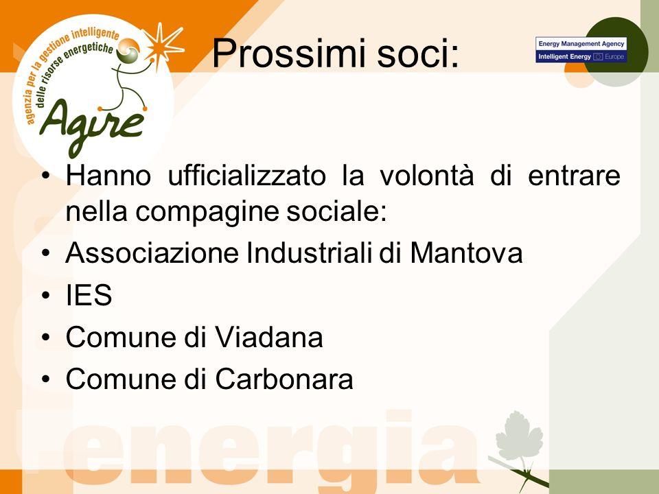 Prossimi soci: Hanno ufficializzato la volontà di entrare nella compagine sociale: Associazione Industriali di Mantova IES Comune di Viadana Comune di Carbonara
