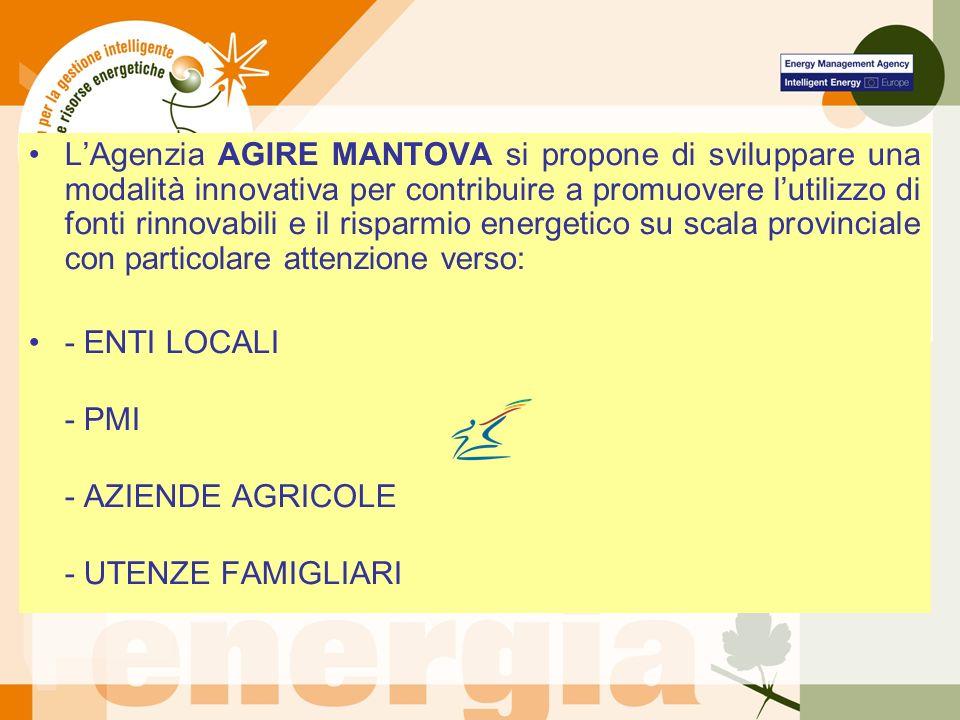 LAgenzia AGIRE MANTOVA si propone di sviluppare una modalità innovativa per contribuire a promuovere lutilizzo di fonti rinnovabili e il risparmio energetico su scala provinciale con particolare attenzione verso: - ENTI LOCALI - PMI - AZIENDE AGRICOLE - UTENZE FAMIGLIARI