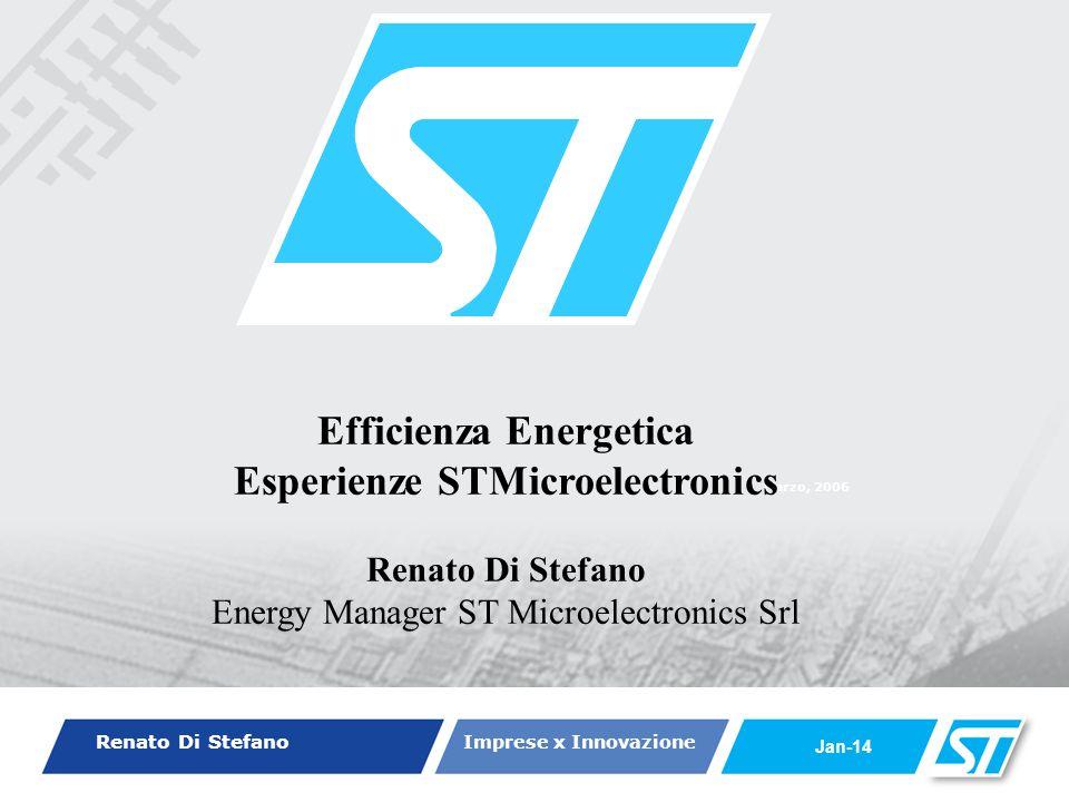 Renato Di Stefano Imprese x Innovazione Jan-14 Marzo, 2006 Efficienza Energetica Esperienze STMicroelectronics Renato Di Stefano Energy Manager ST Microelectronics Srl